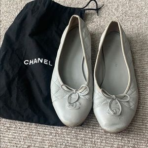 Chanel gorgeous blue-grey pleated flats